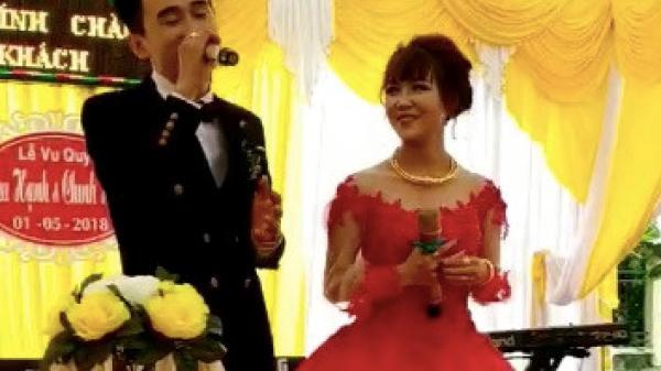 """Chú rể Quảng Bình """"tạo bão"""" khi hát tặng vợ trong ngày cưới"""
