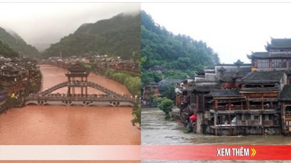 Phượng Hoàng cổ trấn ngập trong biển nước đục ngầu giữa mưa lũ ở TQ