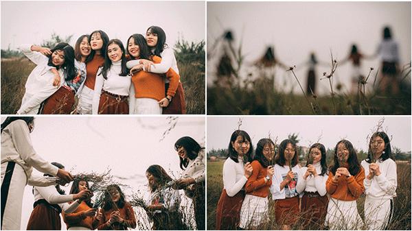 """Chia tay bạn đi du học, nhóm 6 cô nàng Quảng Bình rủ nhau ra bãi cỏ quê nhà chụp ảnh """"siêu deep"""""""